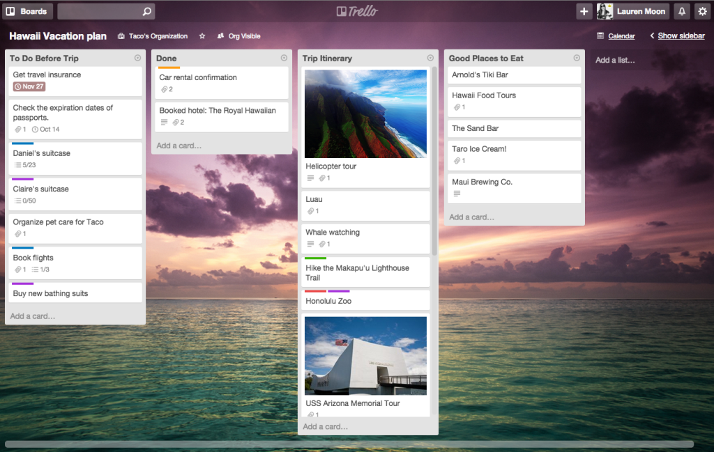 Tips for using Trello: Plan a trip