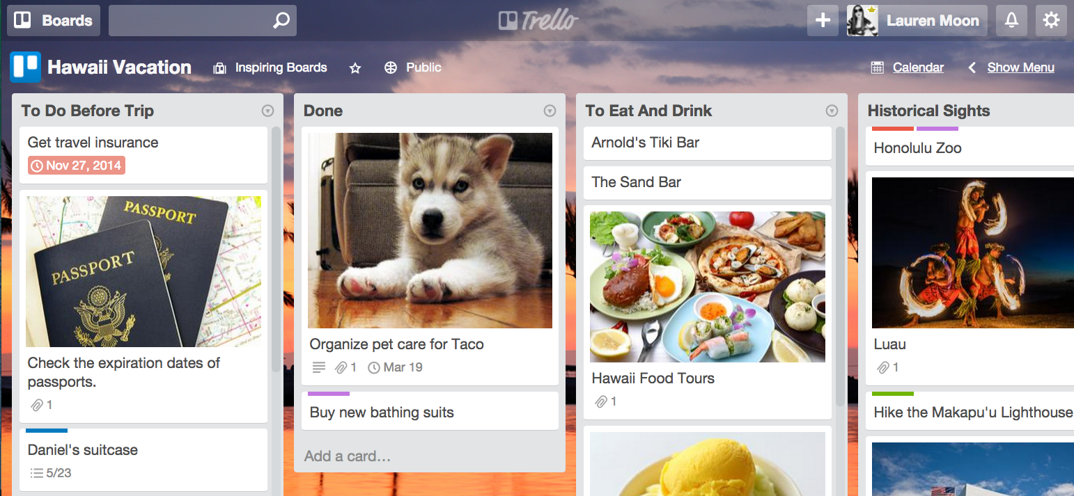 Plan a vacation: Free Trello sample board