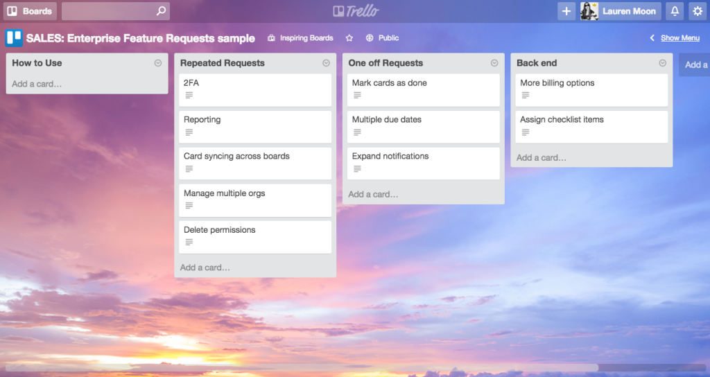 Customer Feature Requests Sample Template in Trello