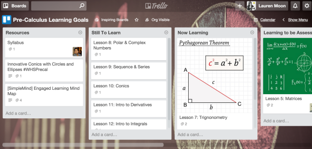 Collaborative learning Trello board