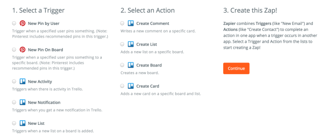 Trello and Pinterest integration with Zapier