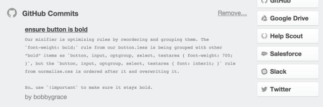 GitHub commits in Trello
