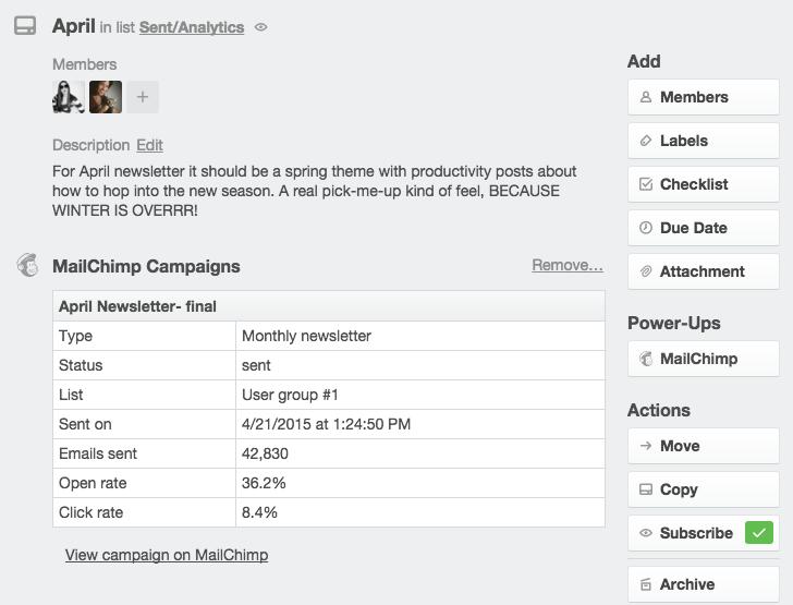 Mailchimp email marketing data in Trello