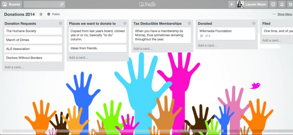Charitable donations sample Trello board