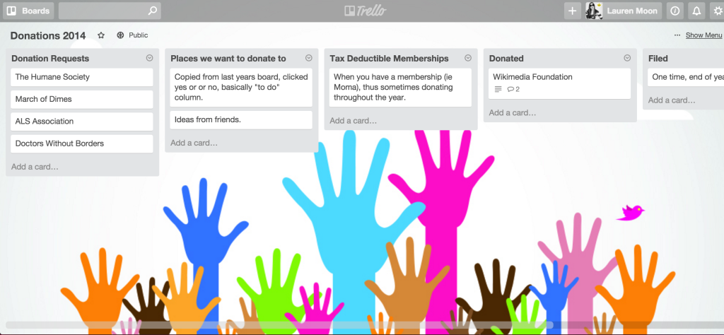 Charitable donations sample Trello board