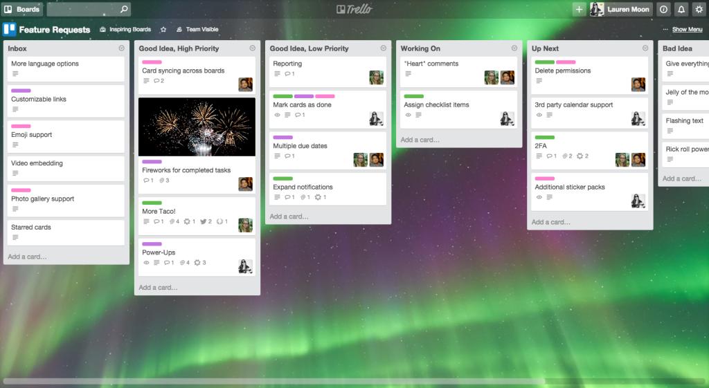 Customer Feedback Trello Board to manage feature requests