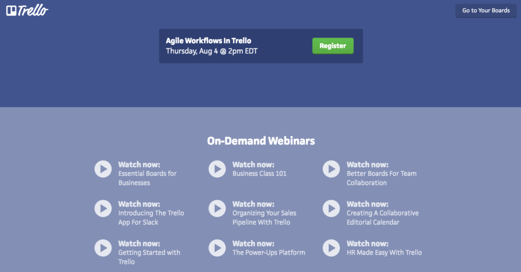 On-Demand Webinars from Trello