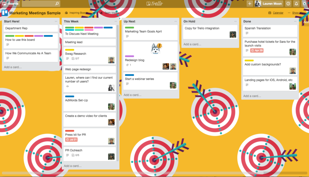 Trello board for team building exercises