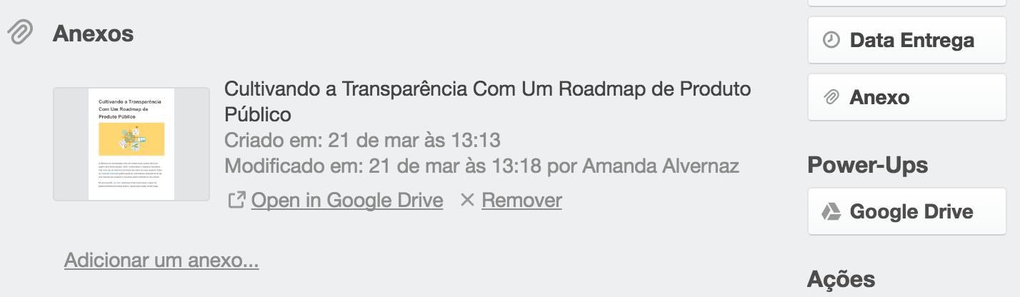 google drive anexando um arquivo no trello