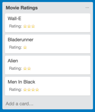 Uses for Trello Custom Fields: Star Ratings