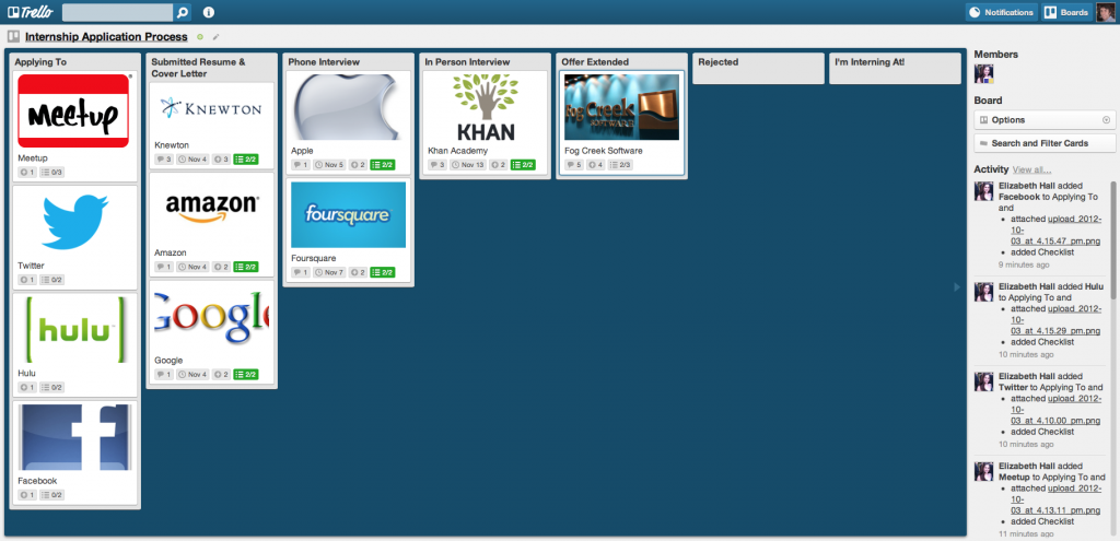 Internship Application Process Trello Board