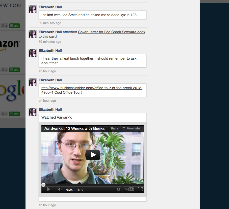Trello Internship Card with Comments and Video