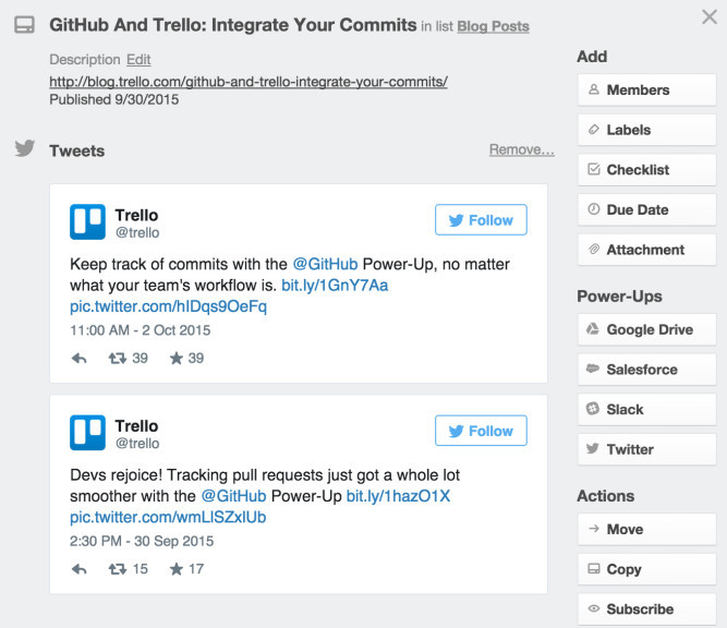 Marketing teams using Twitter and Trello