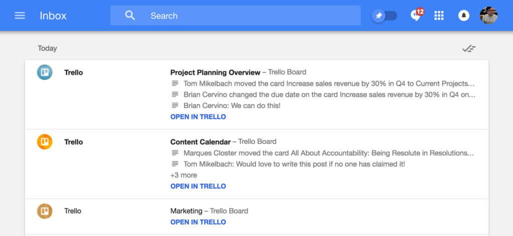 Trello e Inbox do Gmail