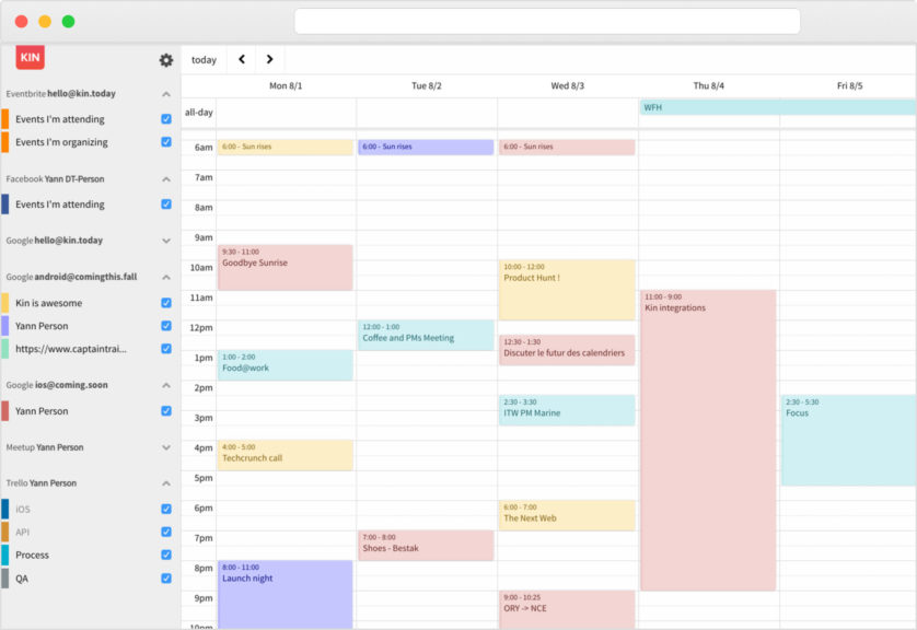 Kin calendar app integrates Trello due dates