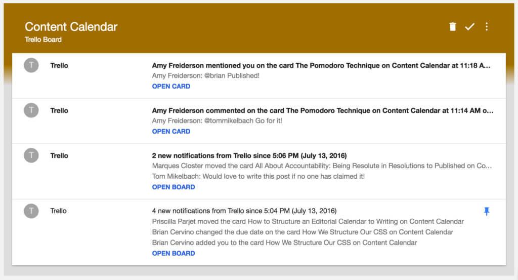 conteúdo no inbox do gmail