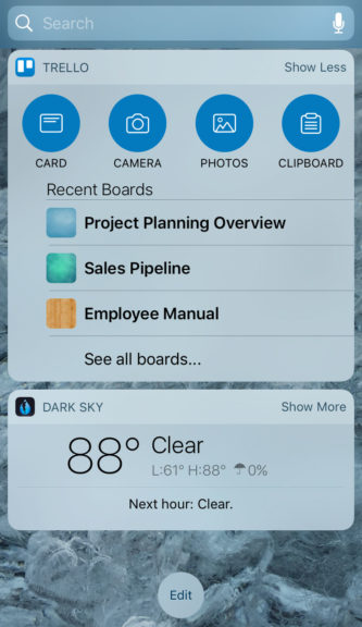 Trello iOS 10 Widget