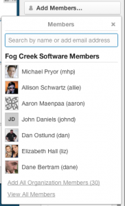 Add members in Trello board menu