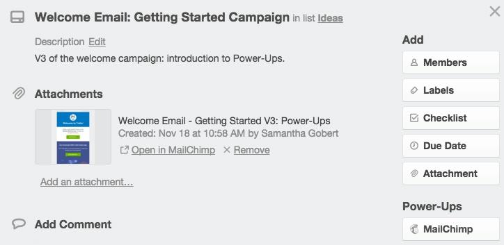 Attach Mailchimp template to Trello
