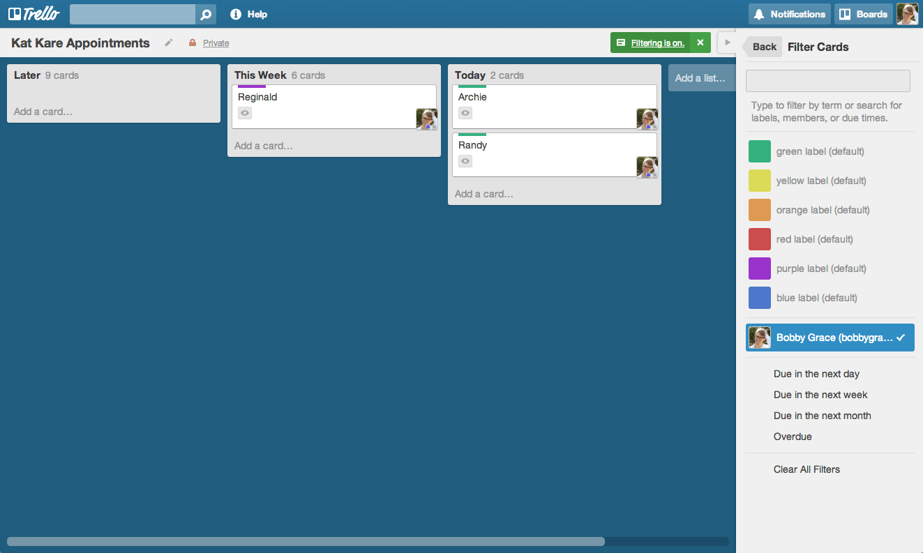 Trello Board View Filter