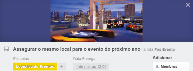Cartão local do evento