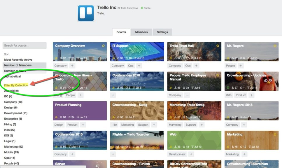 Collections for Teams in Trello Business Class