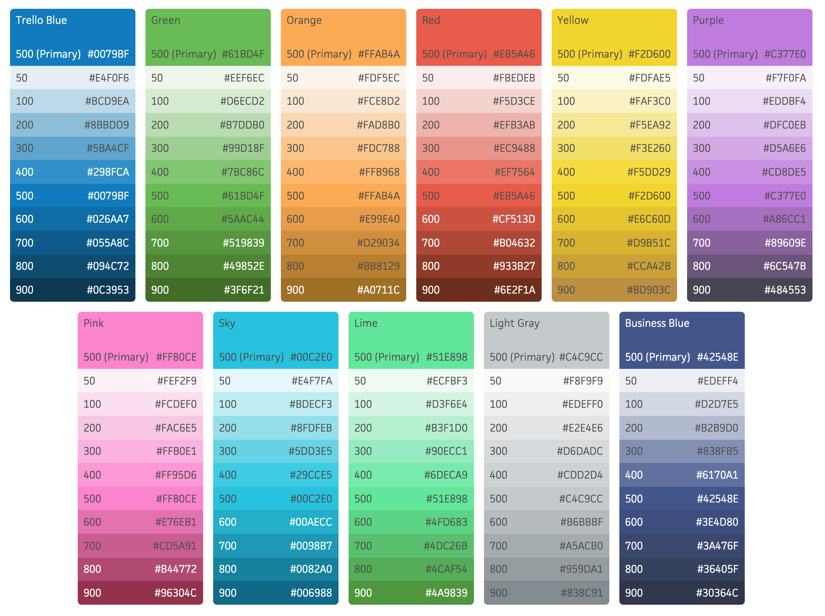 Colors from the Trello color palette