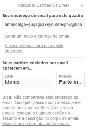 E-mail para um quadro do Trello