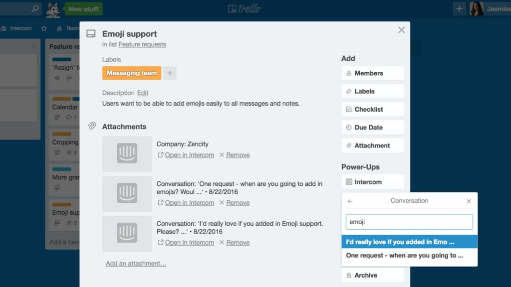 Intercom Power-Up for Trello - Screenshot