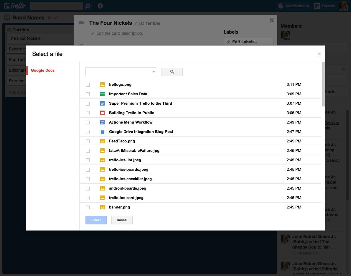Google Drive Select a File