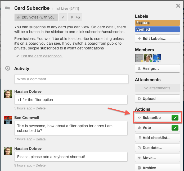 Introducing Subscribe. Get notifications for any card.   Trello Blog