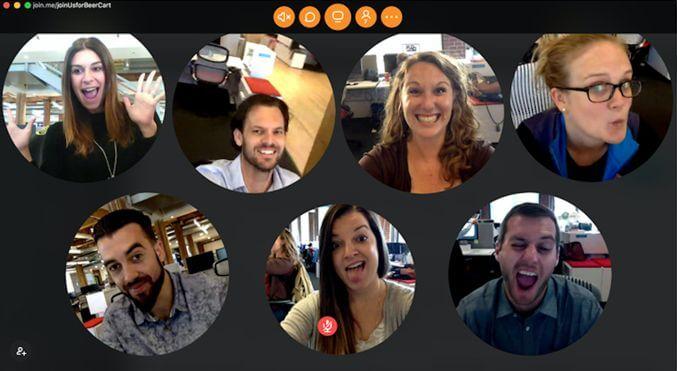 video conferência em grupo