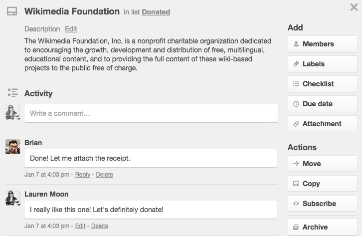 Store charitable donation receipts in Trello.
