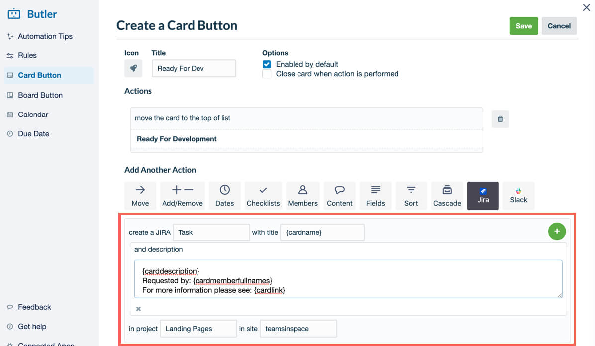 How to create a Jira Butler Card Button