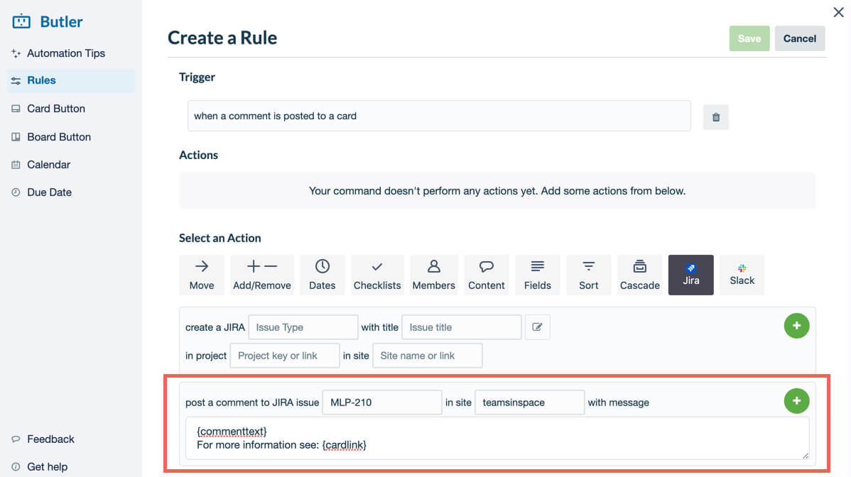 How to create a new task in Jira with Butler in Trello