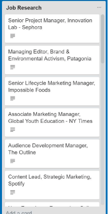 Job search list in Trello