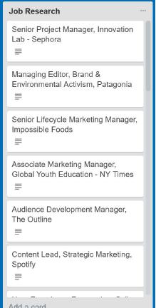 Job search list in Trello