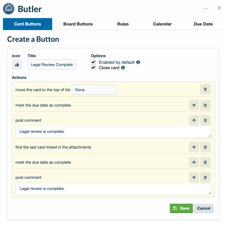 Create a Butler board button to automate actions on a card by card basis.