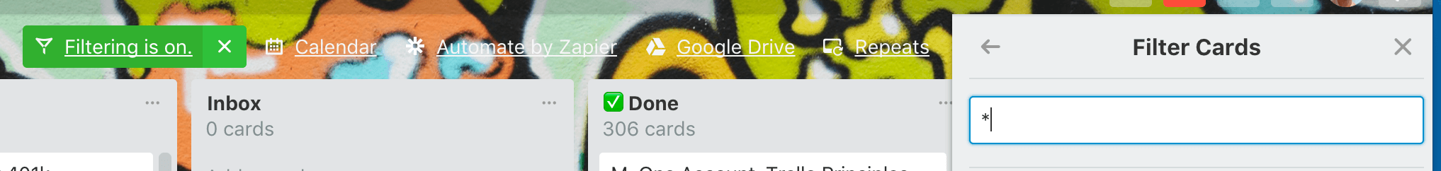 Filter Cards in Done List