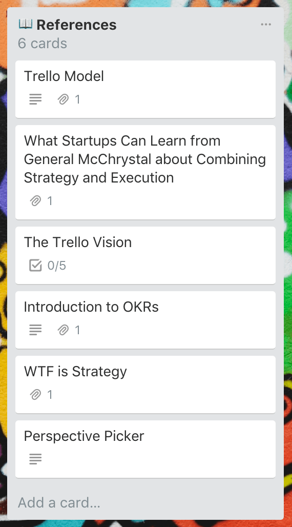 References Trello list