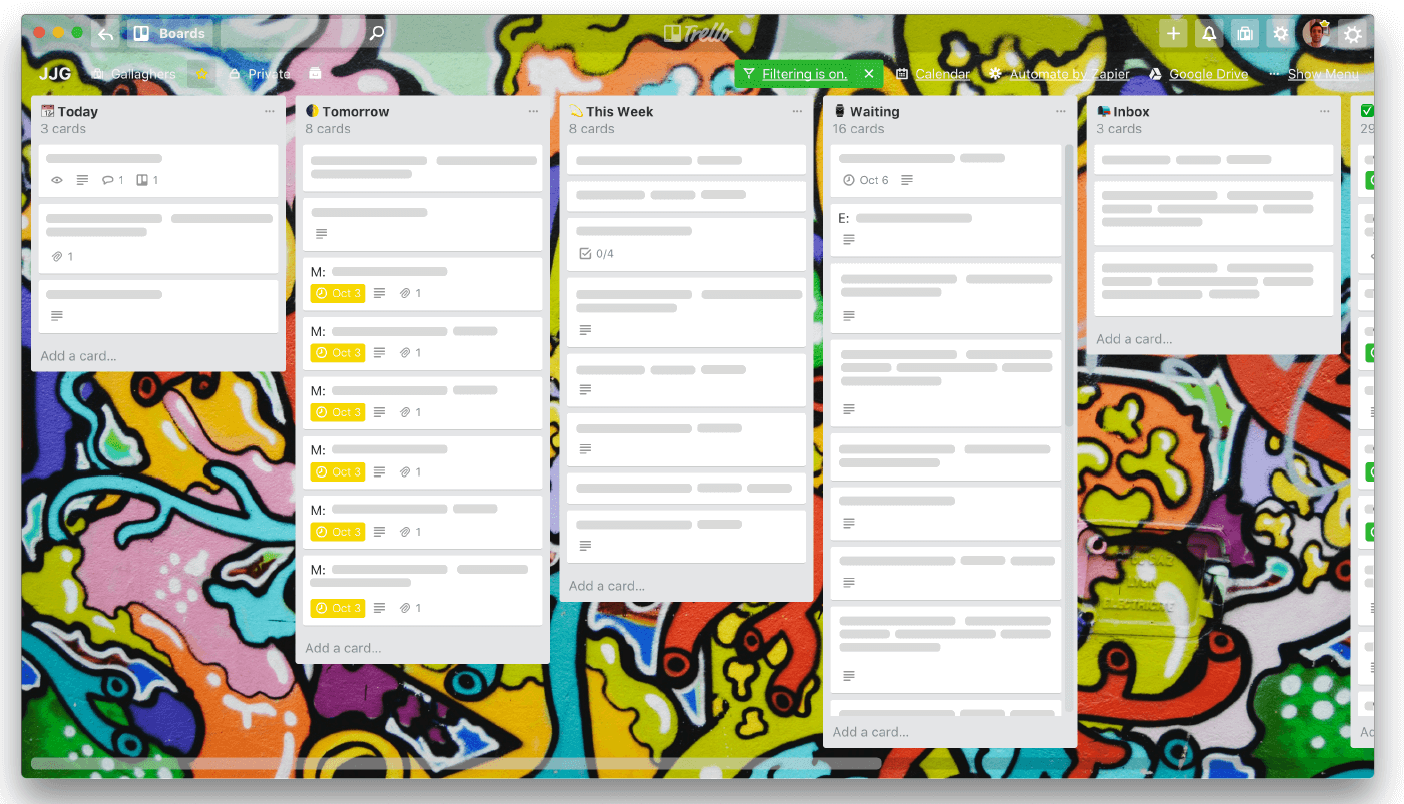 Justin Gallagher's Weekly Productivity Trello Board