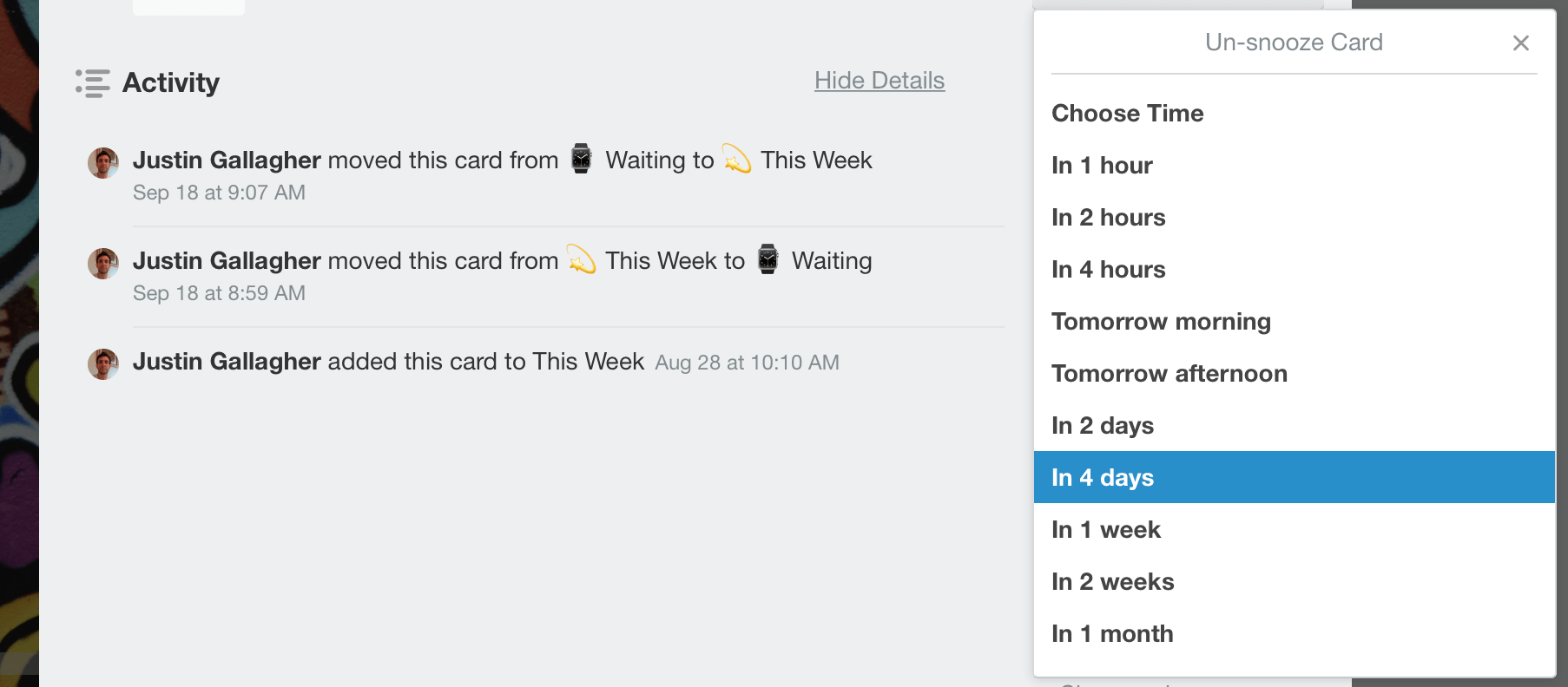 Card Snooze Power-Up Example on Trello Card
