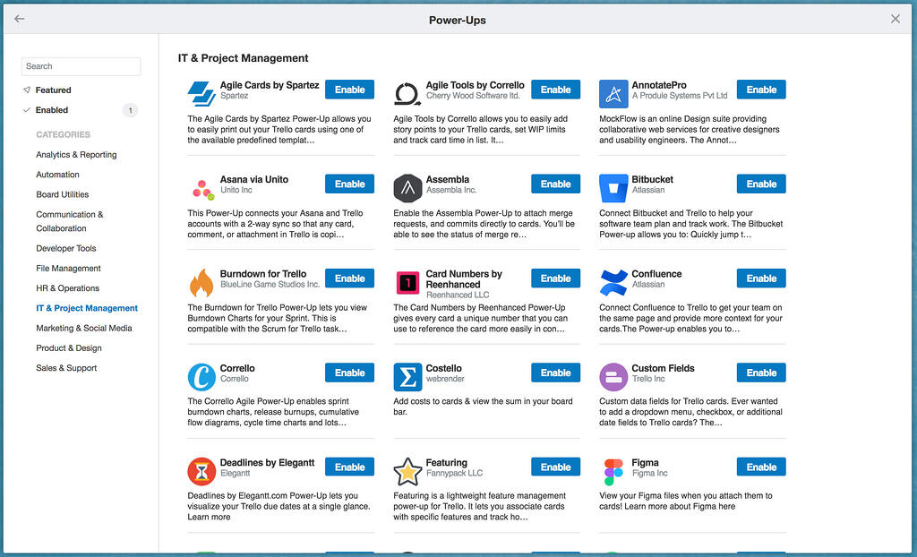 Trello Project Management Power-Ups