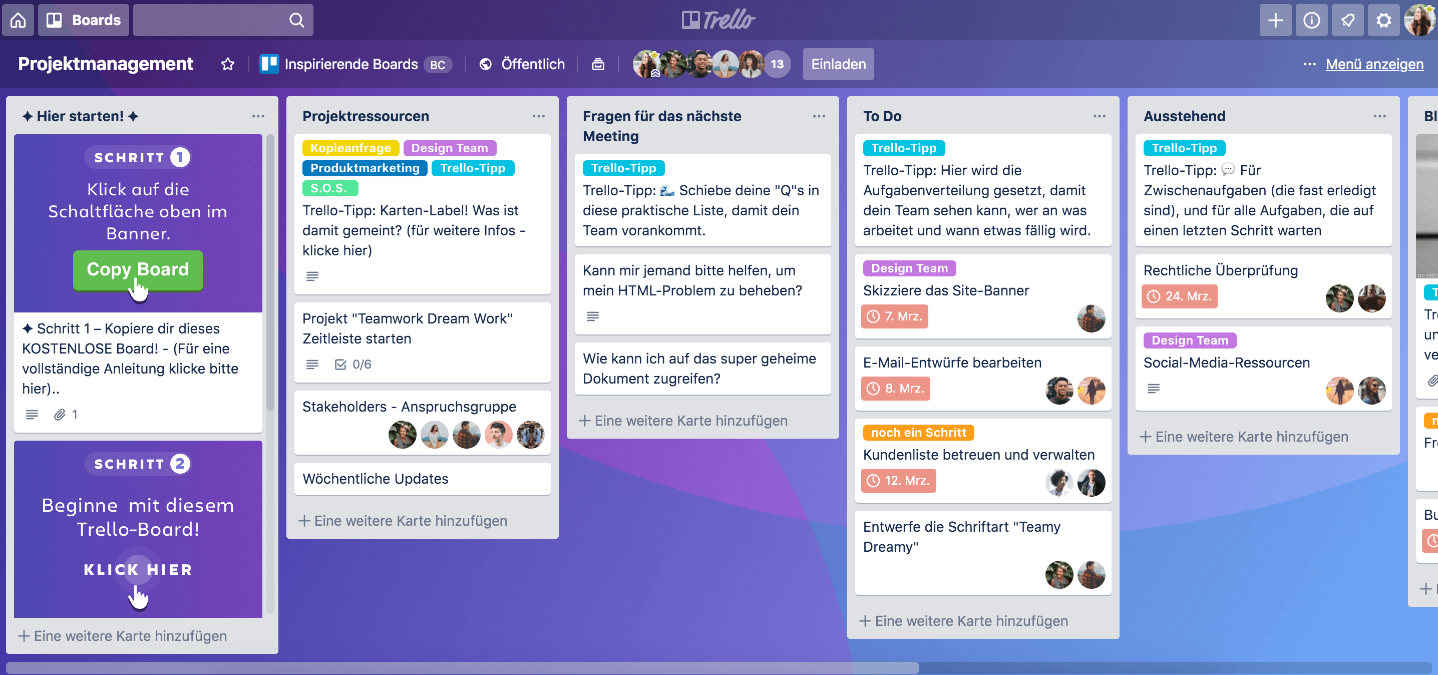 Projektmanagement-Workflow im Trello-Board