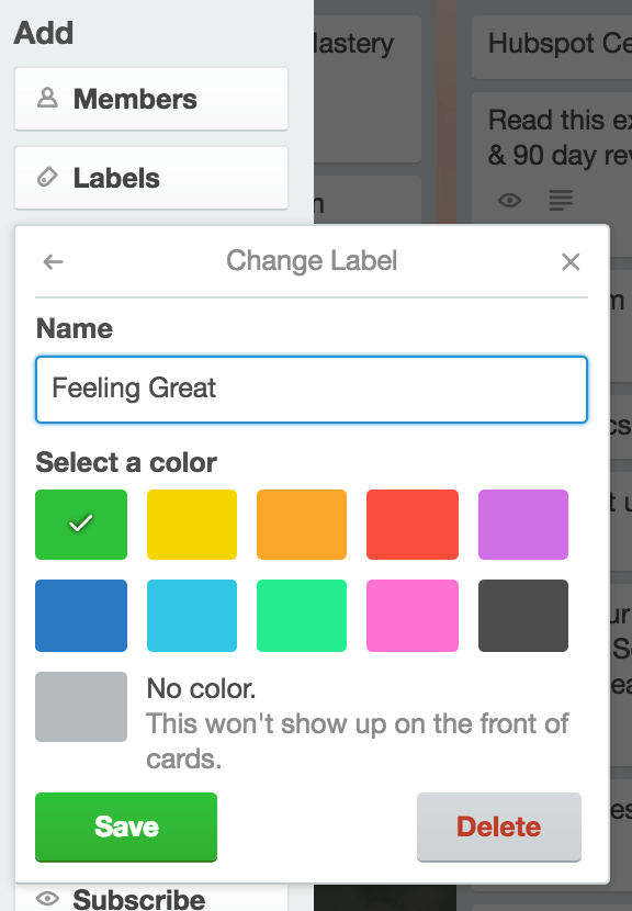 Trello labels to help work anxiety