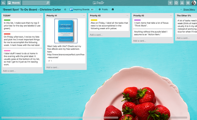 Sweet Spot To-Do Planning Trello Board