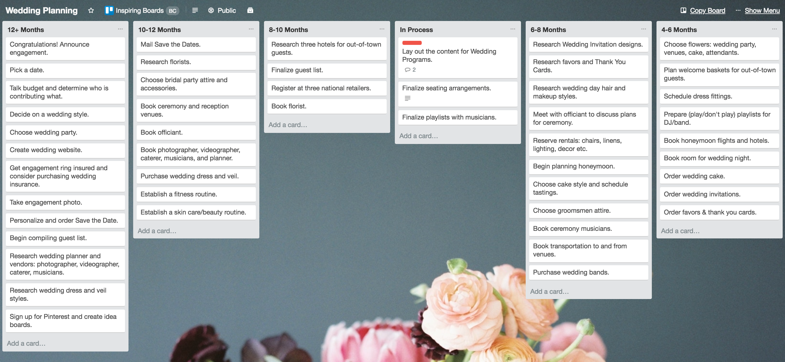 Wedding Planning Master List Template