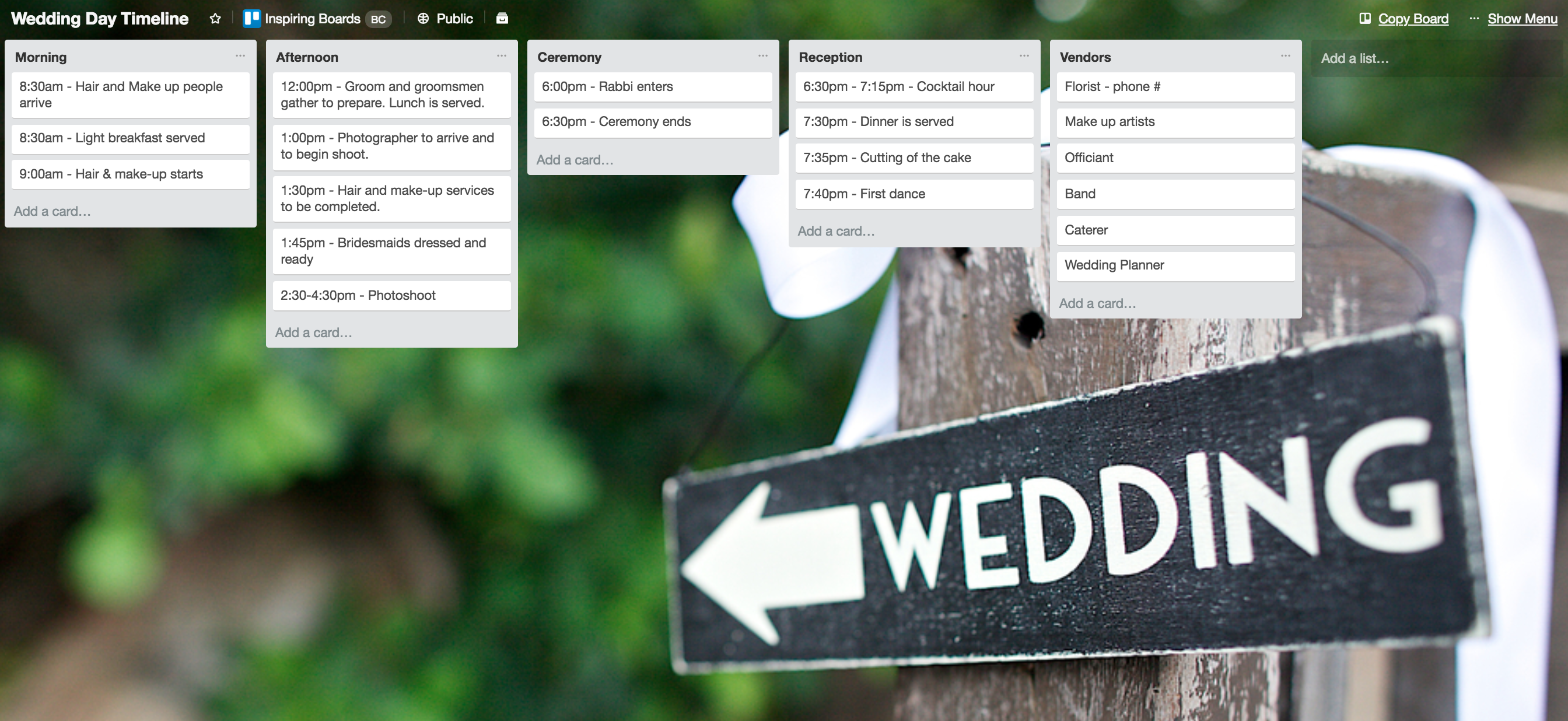 Wedding Day Plan Template