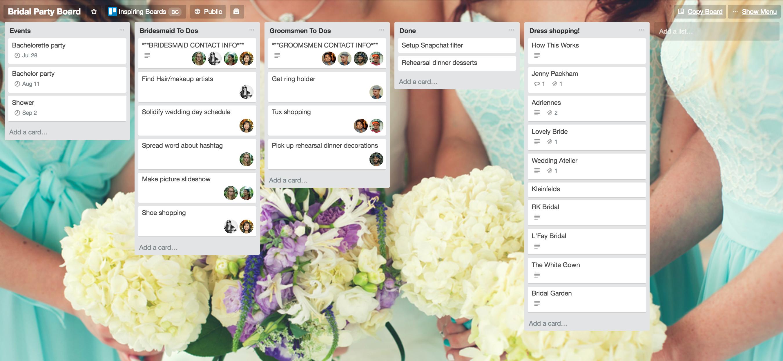 Bridemaids Planning Template
