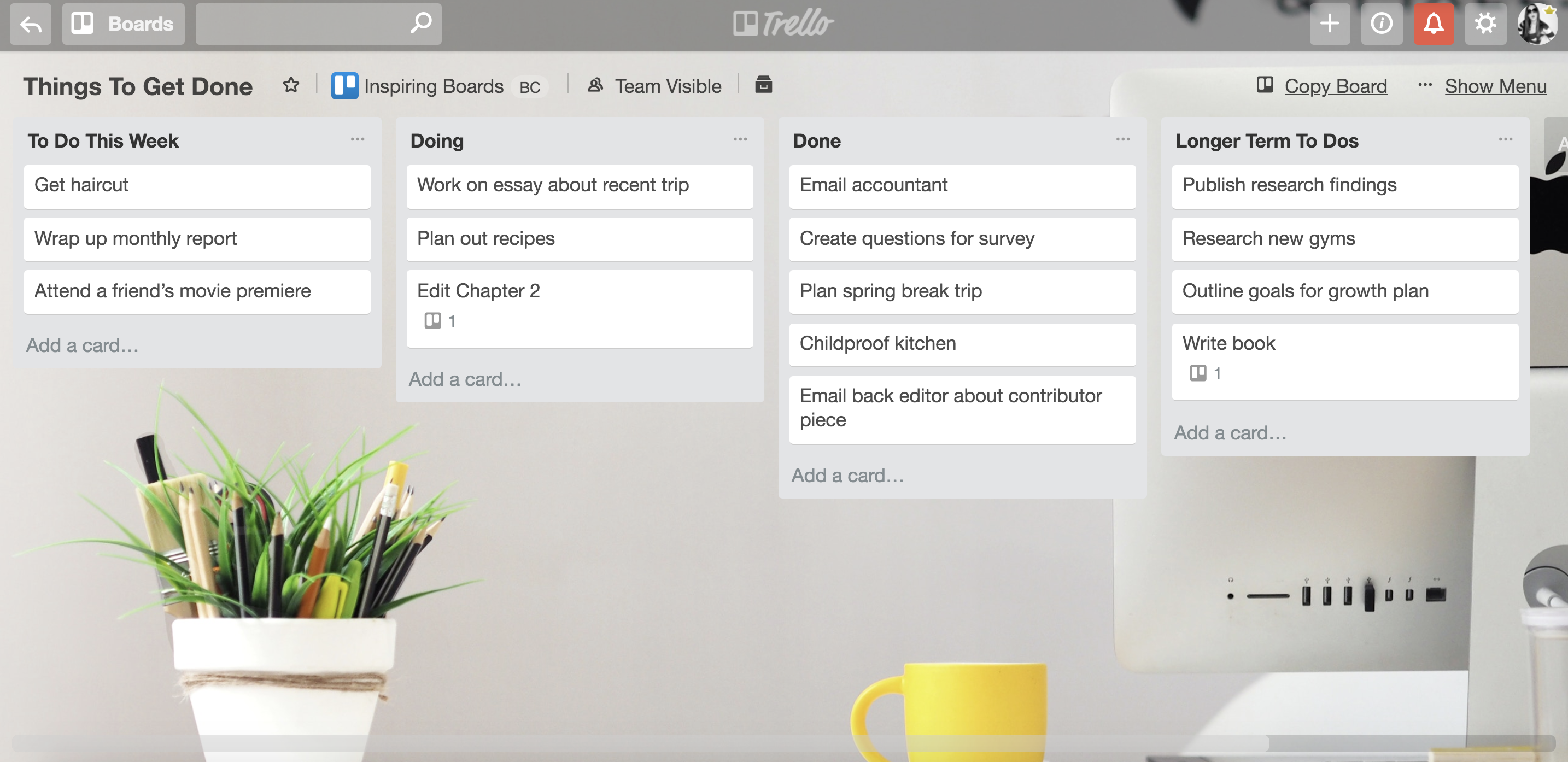 Trello board example of weekly to-do list